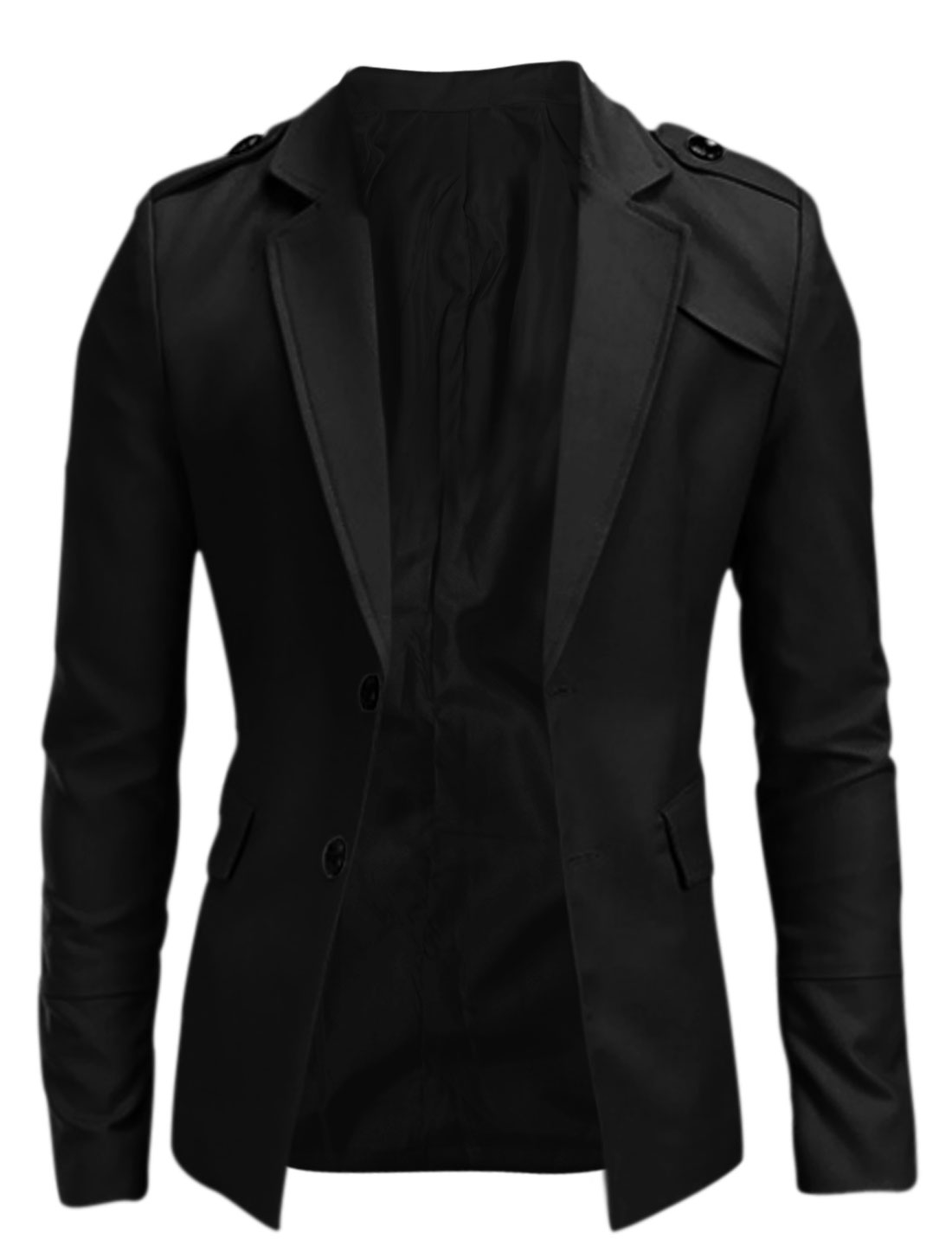 Man Button-tab Epaulets Two Pockets Long Sleeve Blazer Jacket Black M