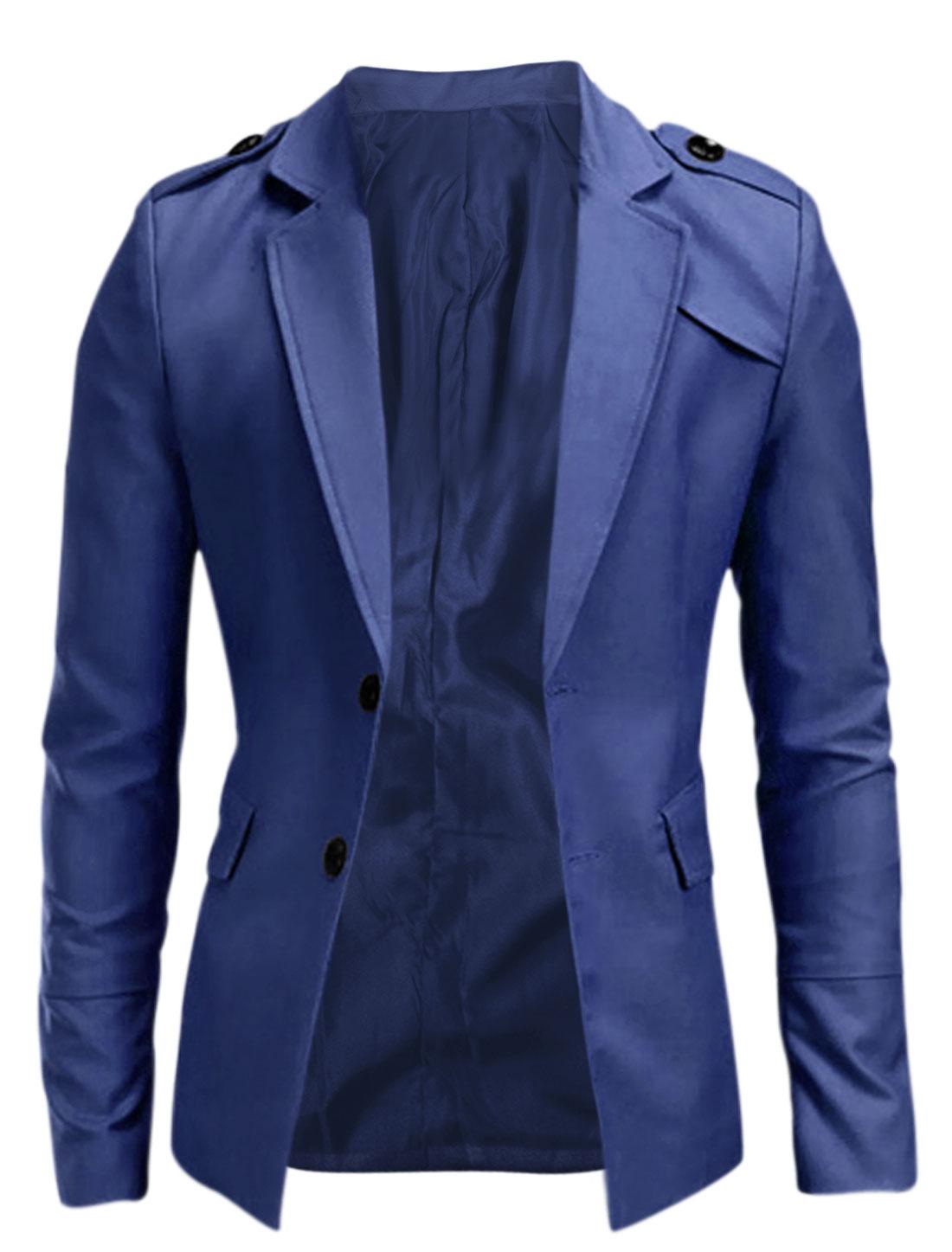 Man Single Breasted Padded Shoulder Long Sleeve Blazer Jacket Royal M
