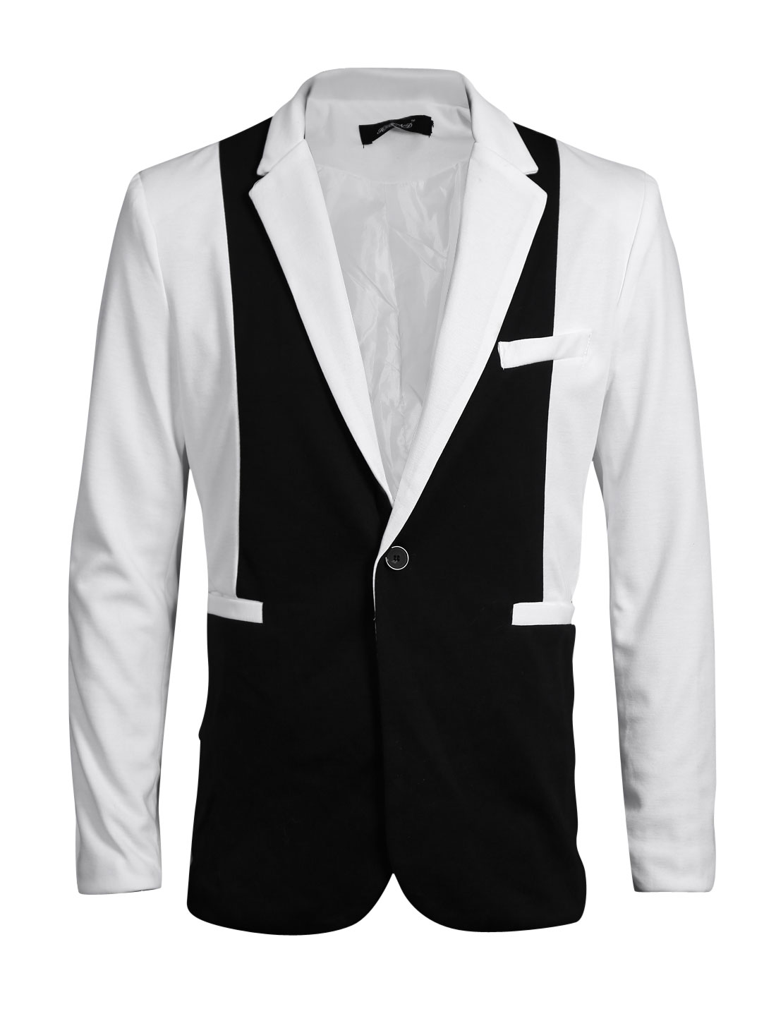 Men Notched Lapel Long Sleeves Color Blocked Chic Blazer Jacket White M
