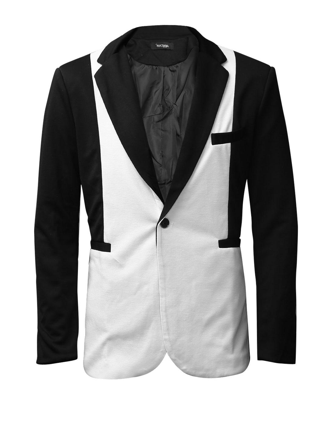 Men Notched Lapel Color Block One Button Casual Blazer Jacket Black M