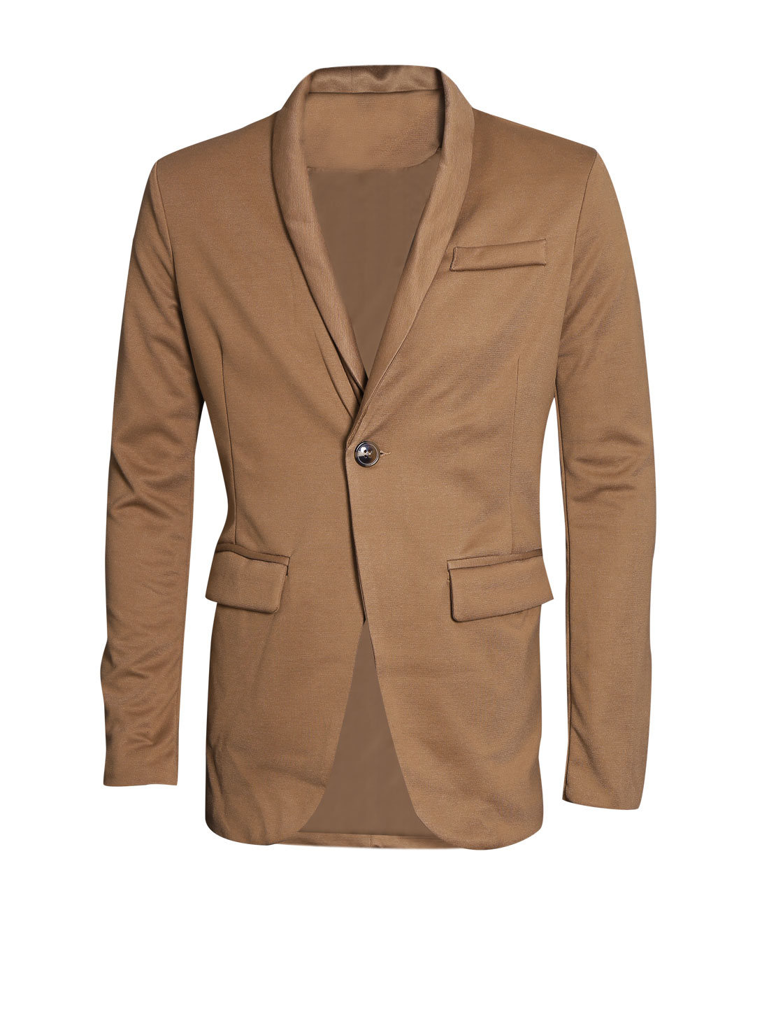 Men Shawl Collar Long Sleeve Two Flap Pockets Casual Blazer Camel M