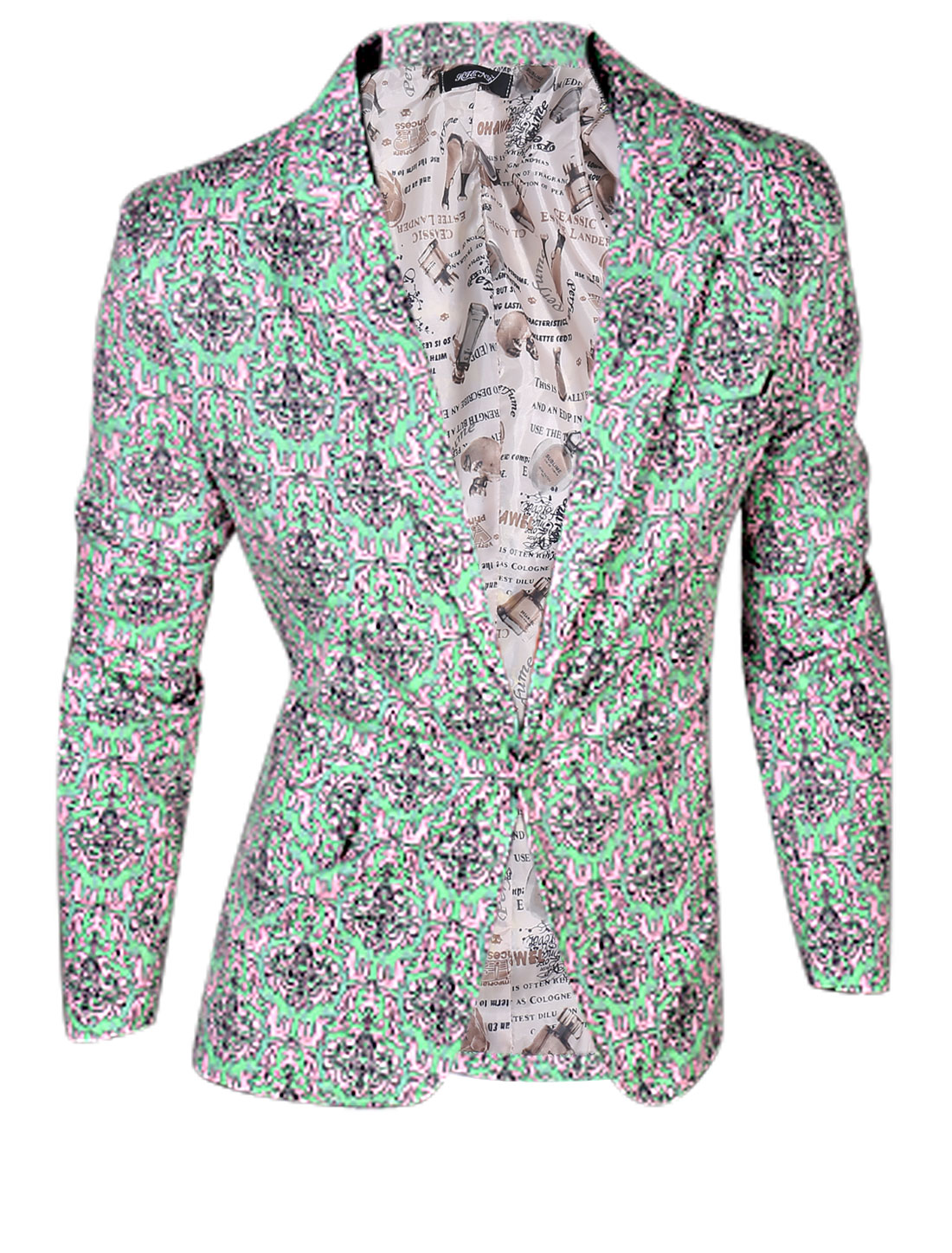 Man Mint Pink Notch Lapel Front Pockets Jacquard Pattern Padded Shoulder Blazer Jacket M