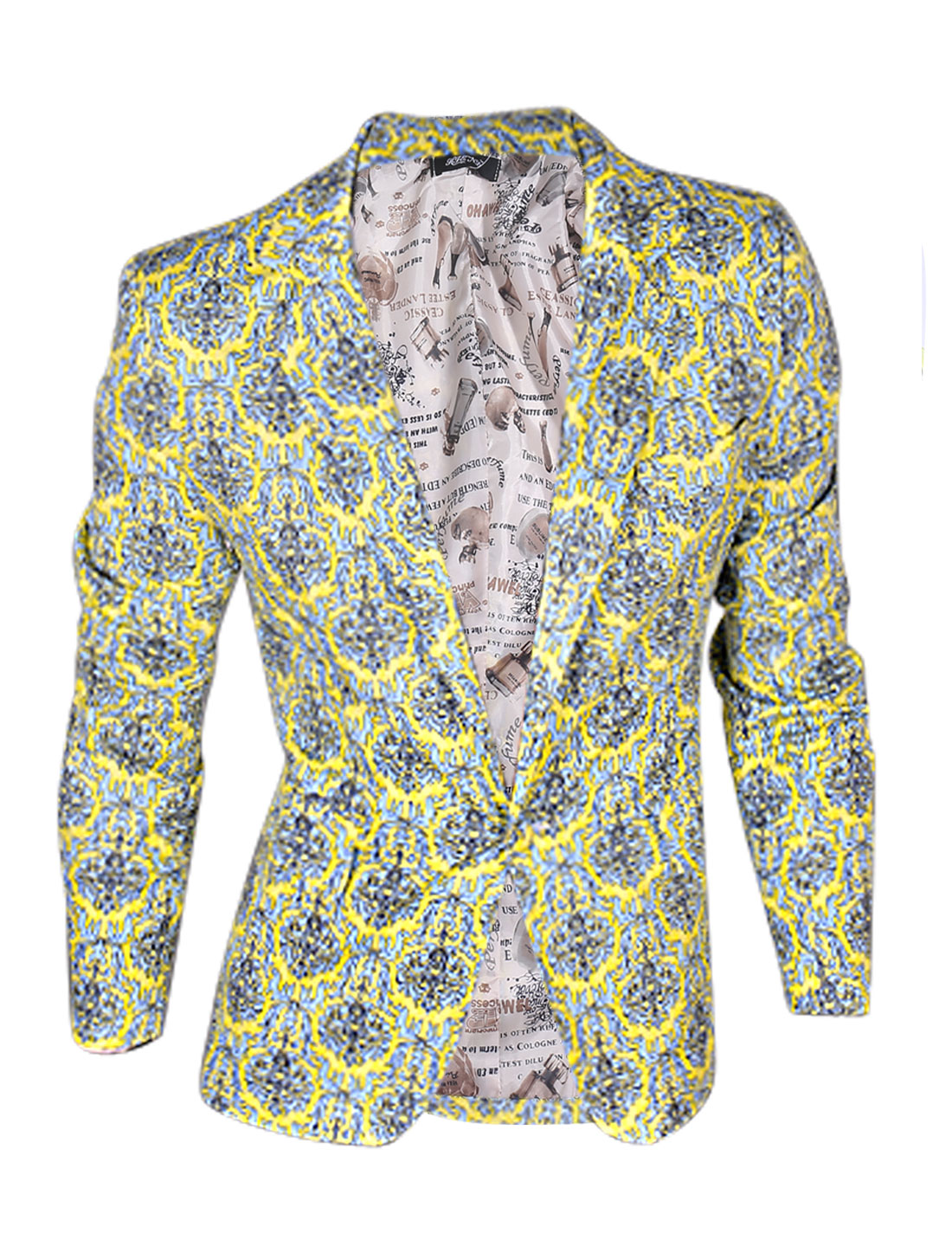 Man Yellow Baby Blue Front Pockets Jacquard Pattern Padded Shoulder Blazer Jacket M