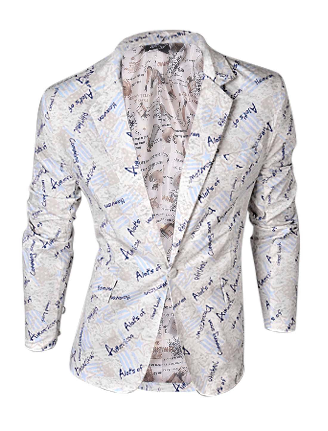 Man Beige Baby Blue Notch Lapel Letters Star Prints Padded Shoulder Blazer Jacket M