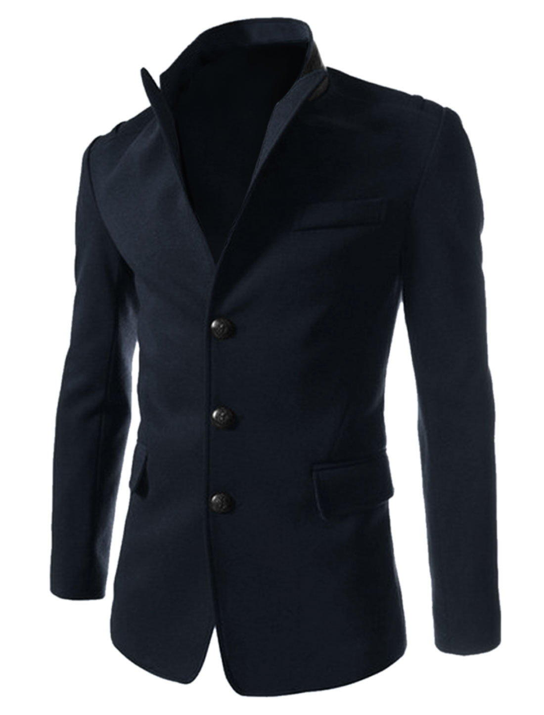 Men Peaked Lapel Long Sleeves Button Closure Fashion Blazer Navy Blue M