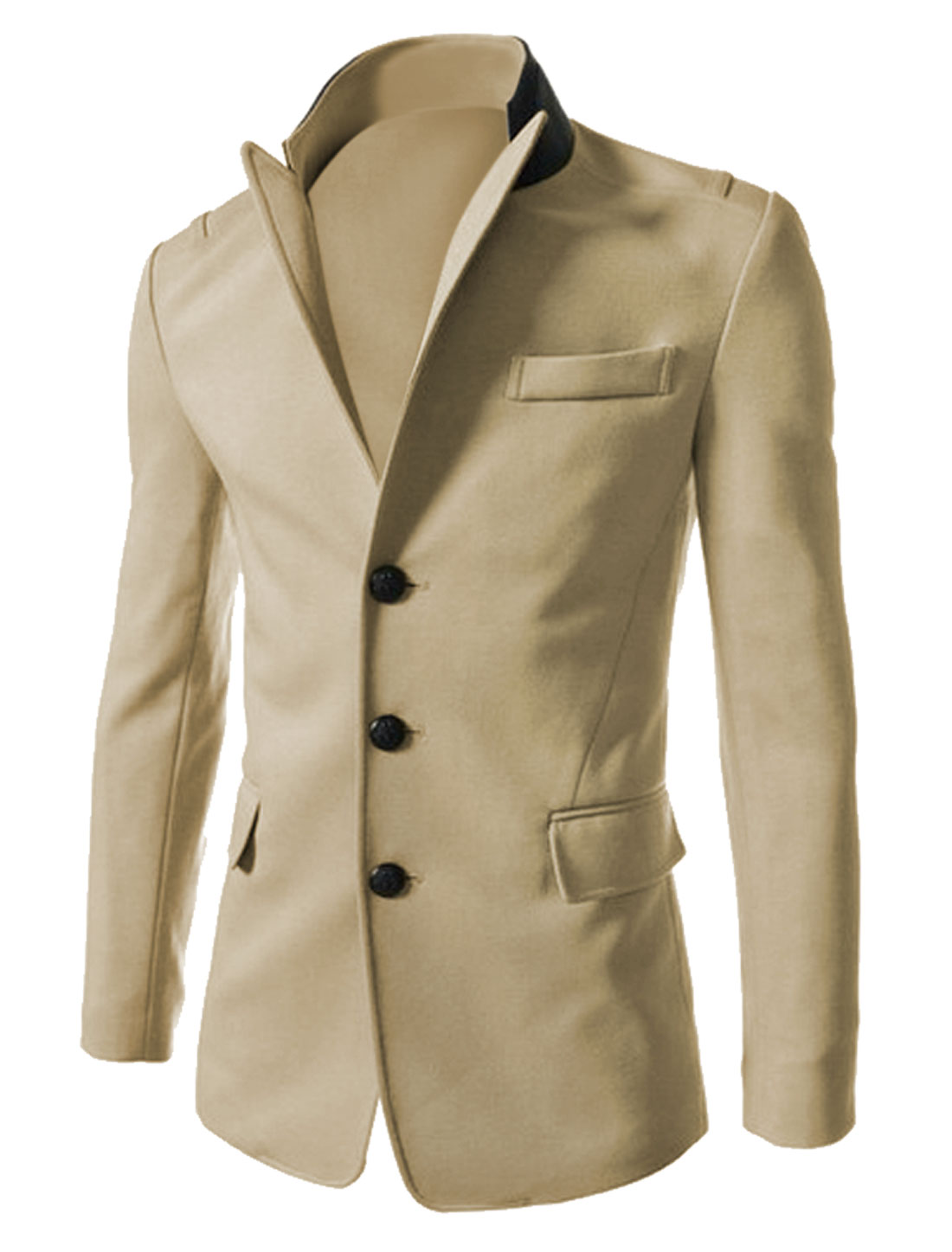 Men Peaked Lapel Single Breasted Chest Pocket Decor Casual Blazer Beige M