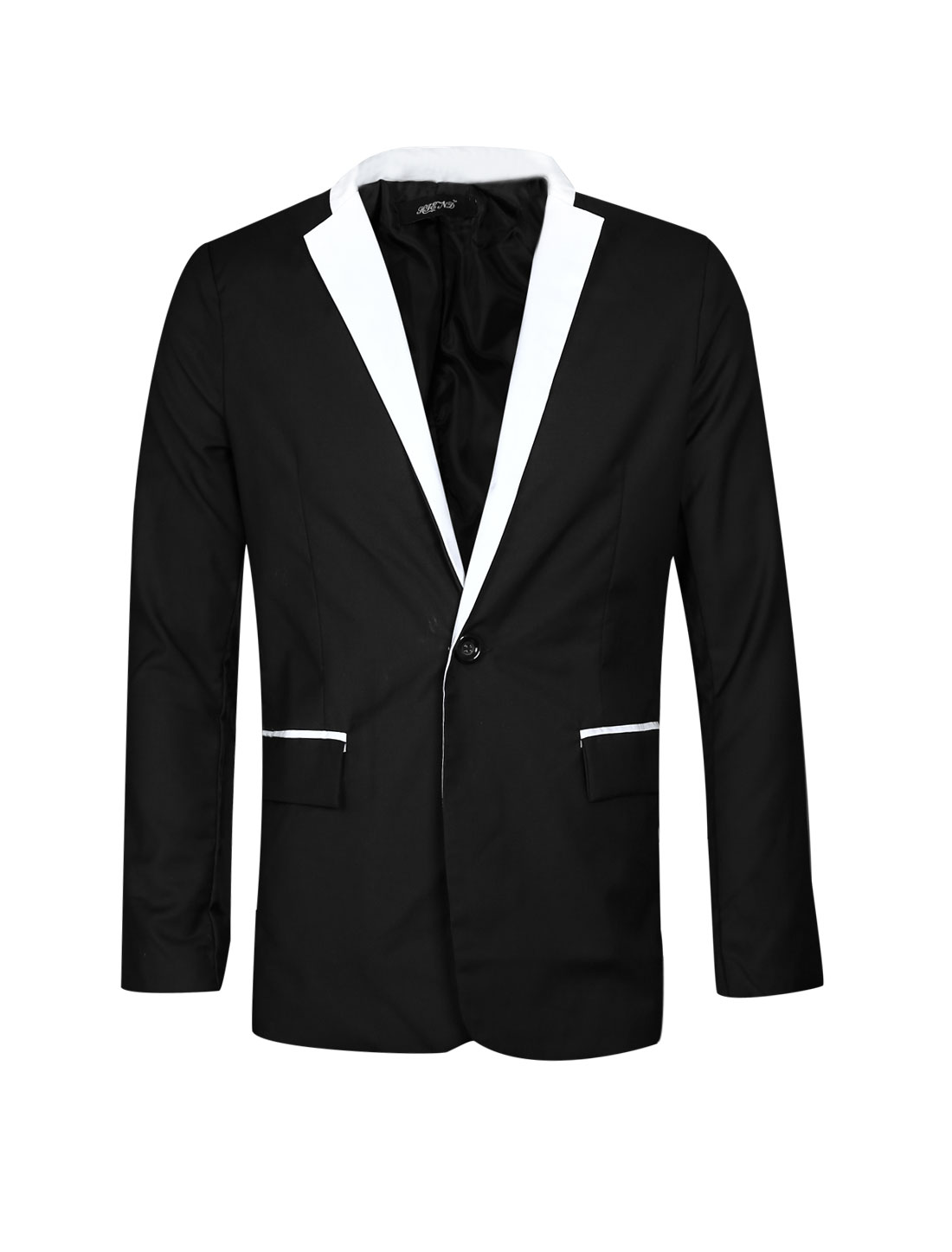 One Button Closed Two Pocket Black Blazer Jacket for Men M