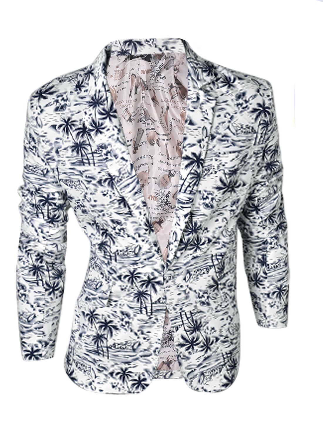 Man Navy Blue Palm Tree Prints One Button Down Slim Fit Blazer Jacket M