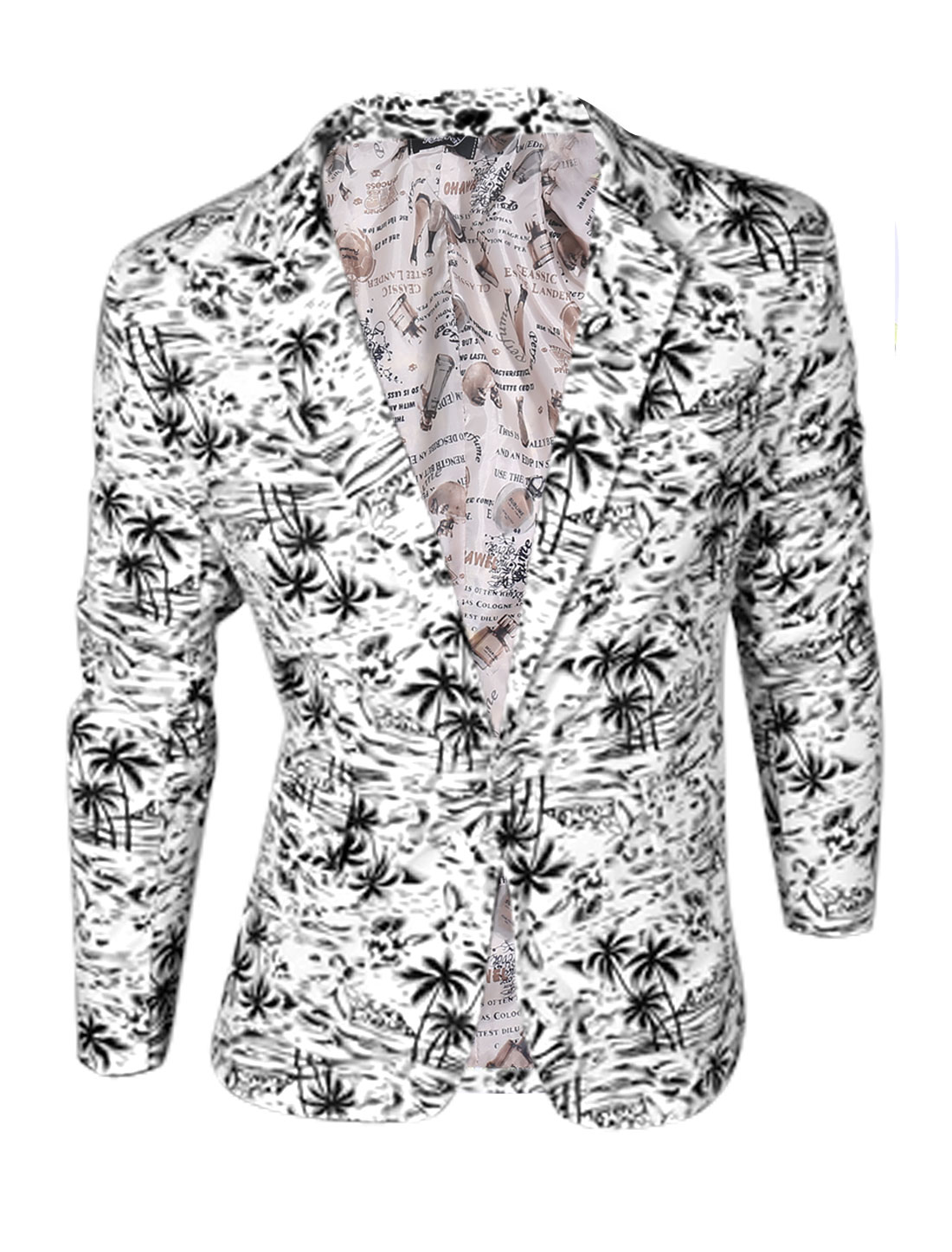 Man Black Long Sleeves Palm Tree Prints One Button Closure Blazer Jacket M