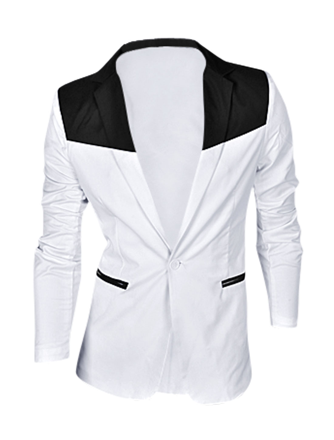 Man White One Button Color Block Mock Pockets Front Split Back Blazer Jacket M