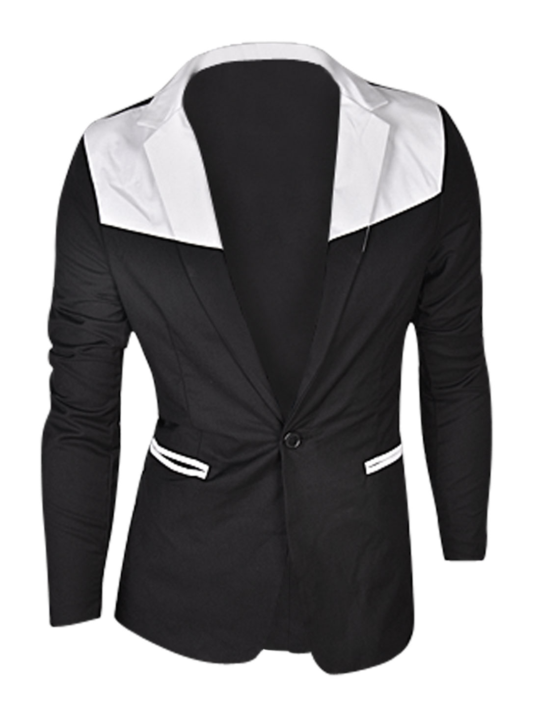 Man Black Padded Shoulder Contrast Color Split Back Blazer Jacket M