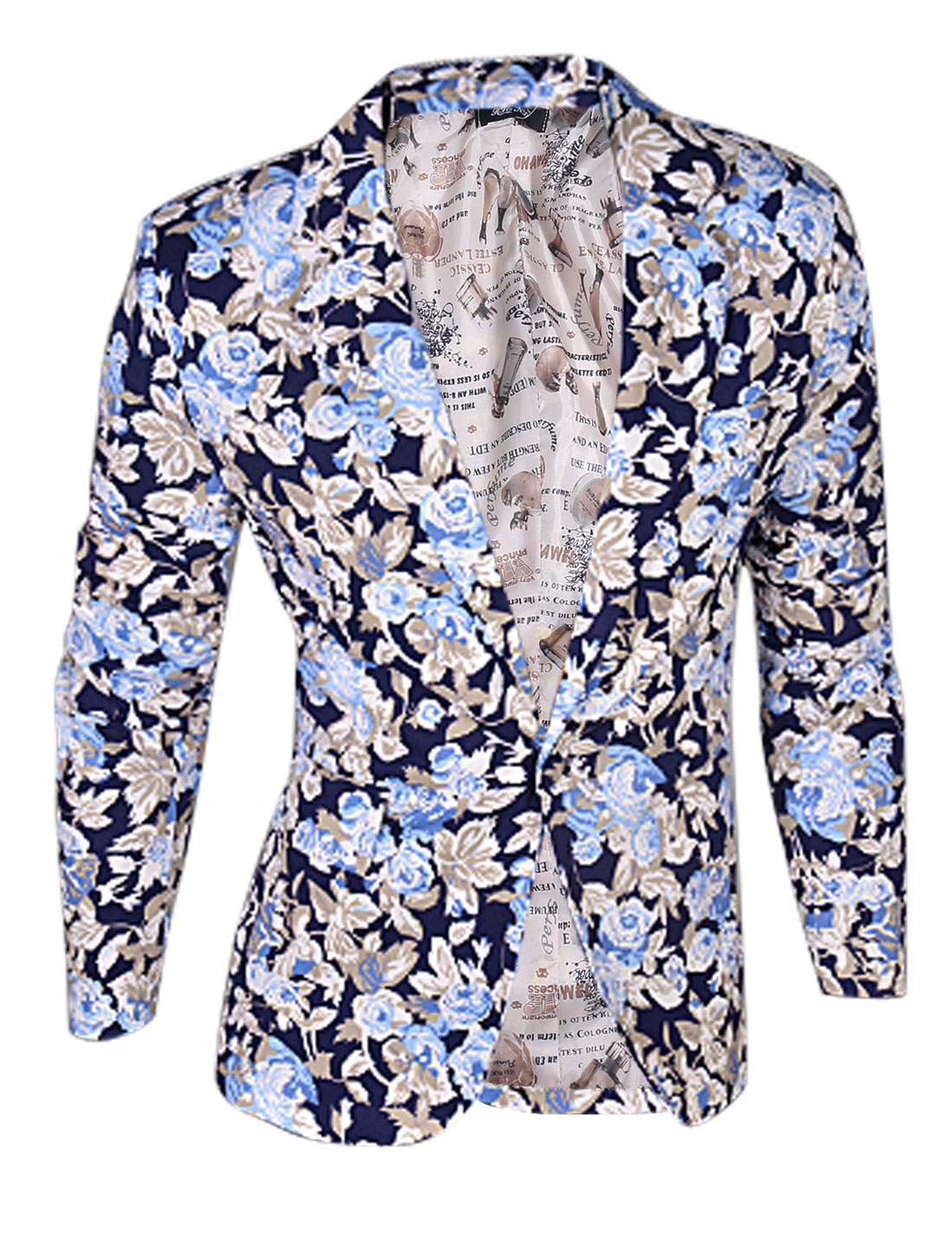 Man Navy Blue Light Blue Floral Prints One Button Clsoure Front Pockets Blazer Jacket M