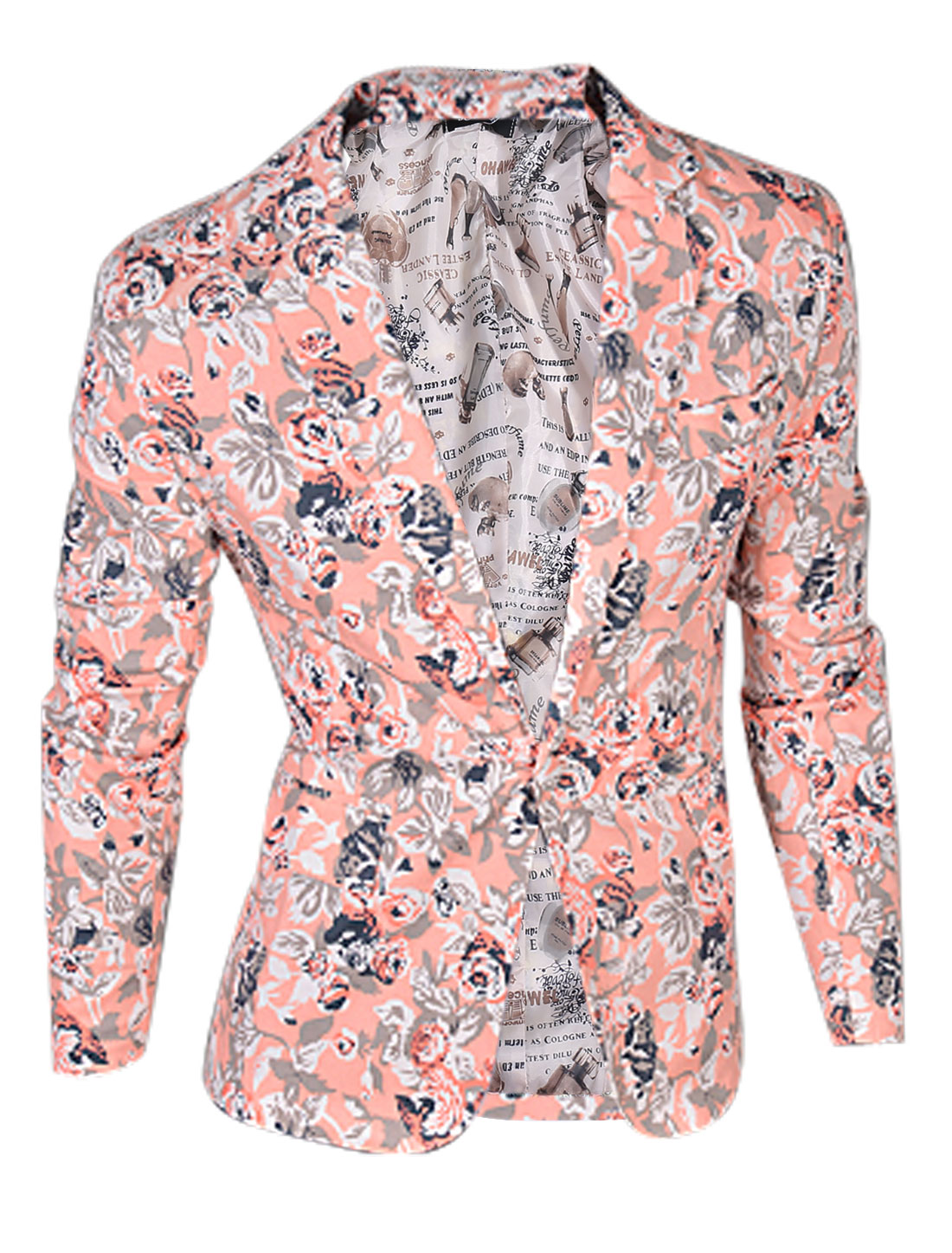 Man Light Coral Light Gray Floral Prints One Button Clsoure Padded Shoulder Blazer Jacket M