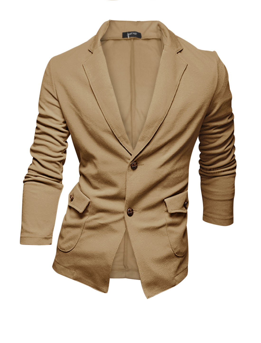 Men Camel Notched Lapel Button Closure Two Pockets Long Sleeve Casual Blazer M
