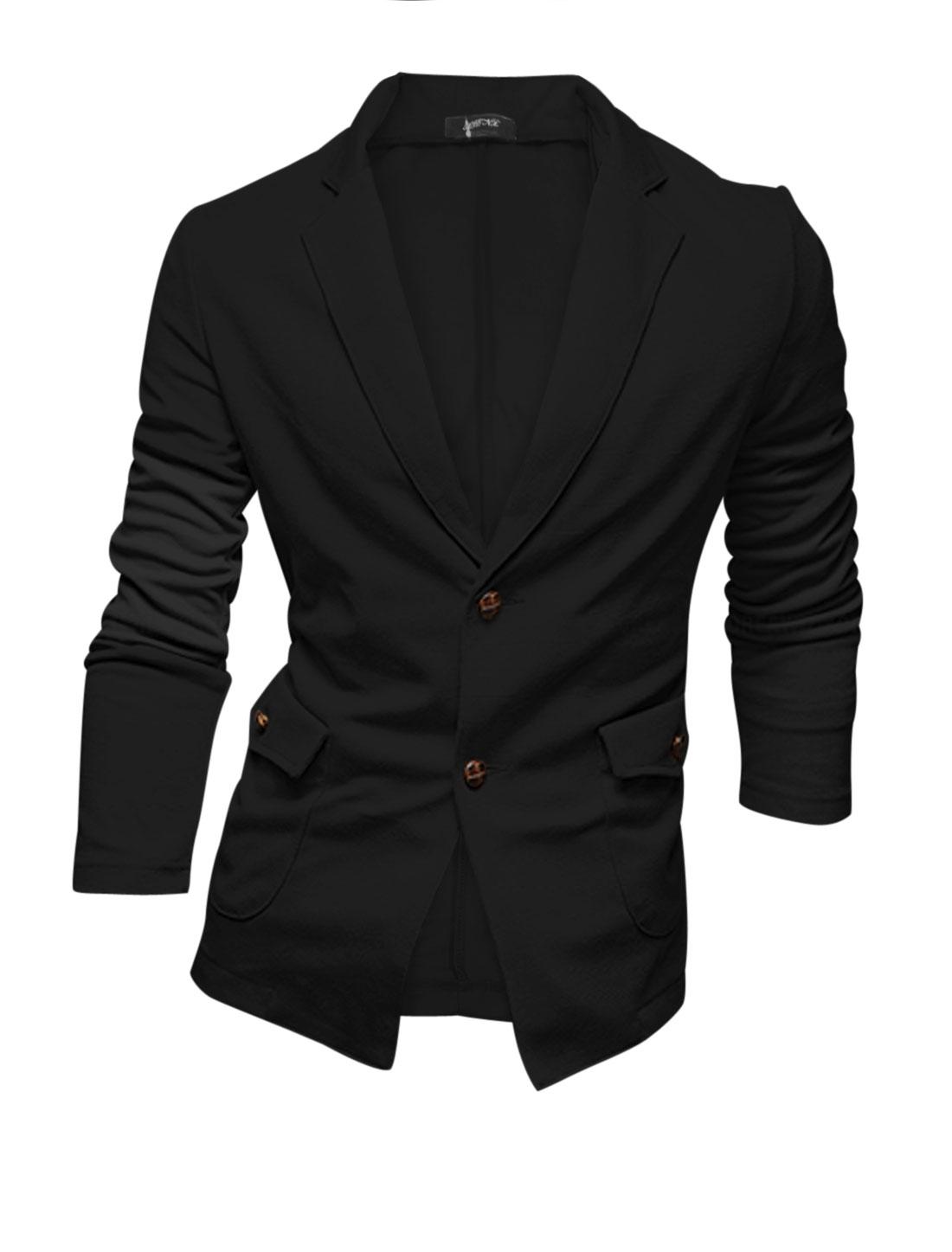 Men Black Notch Lapel Button Closure Two Pockets Long Sleeve Casual Blazer M
