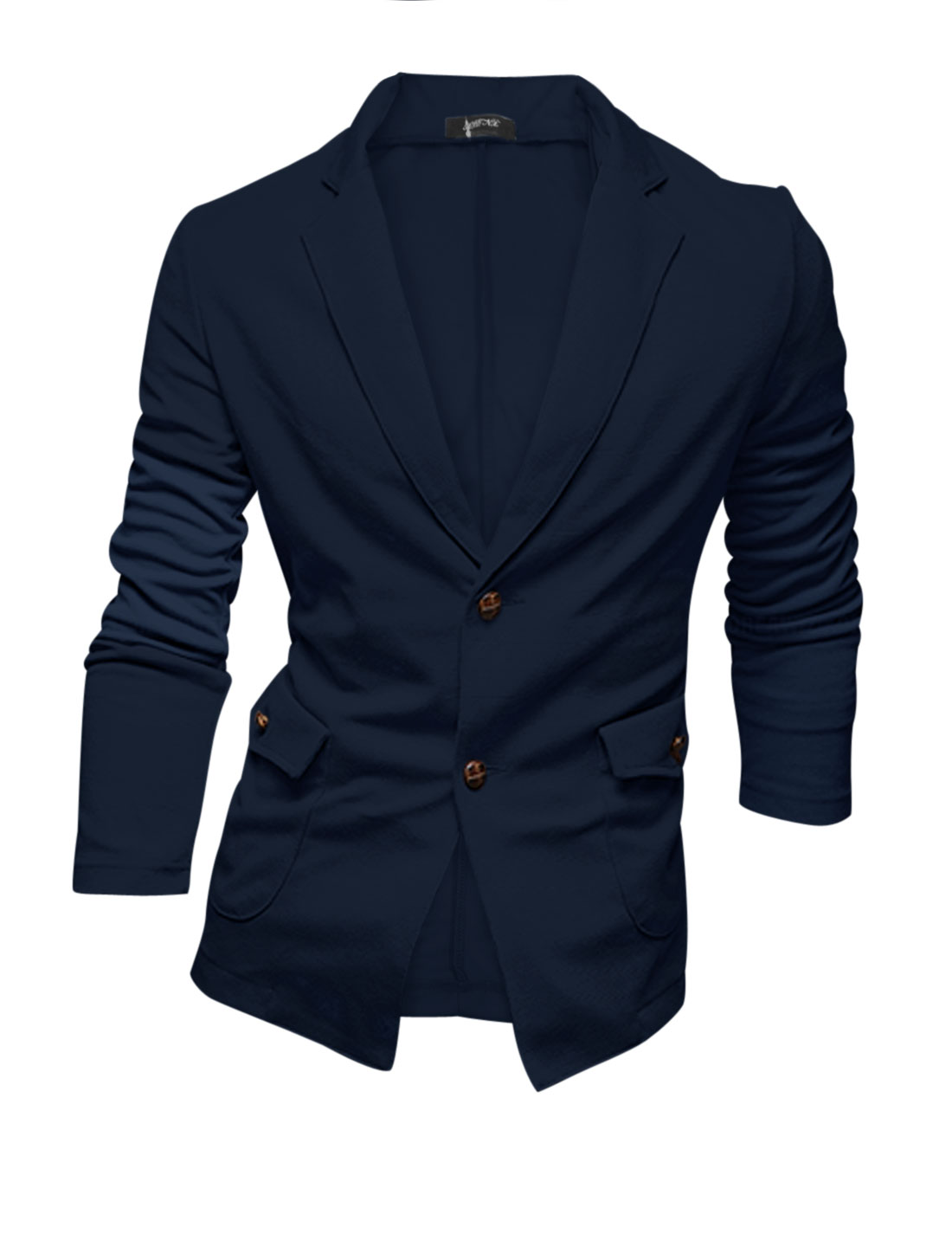 Men Navy Blue Notched Lapel Button Closure Two Pockets Long Sleeve Casual Blazer M