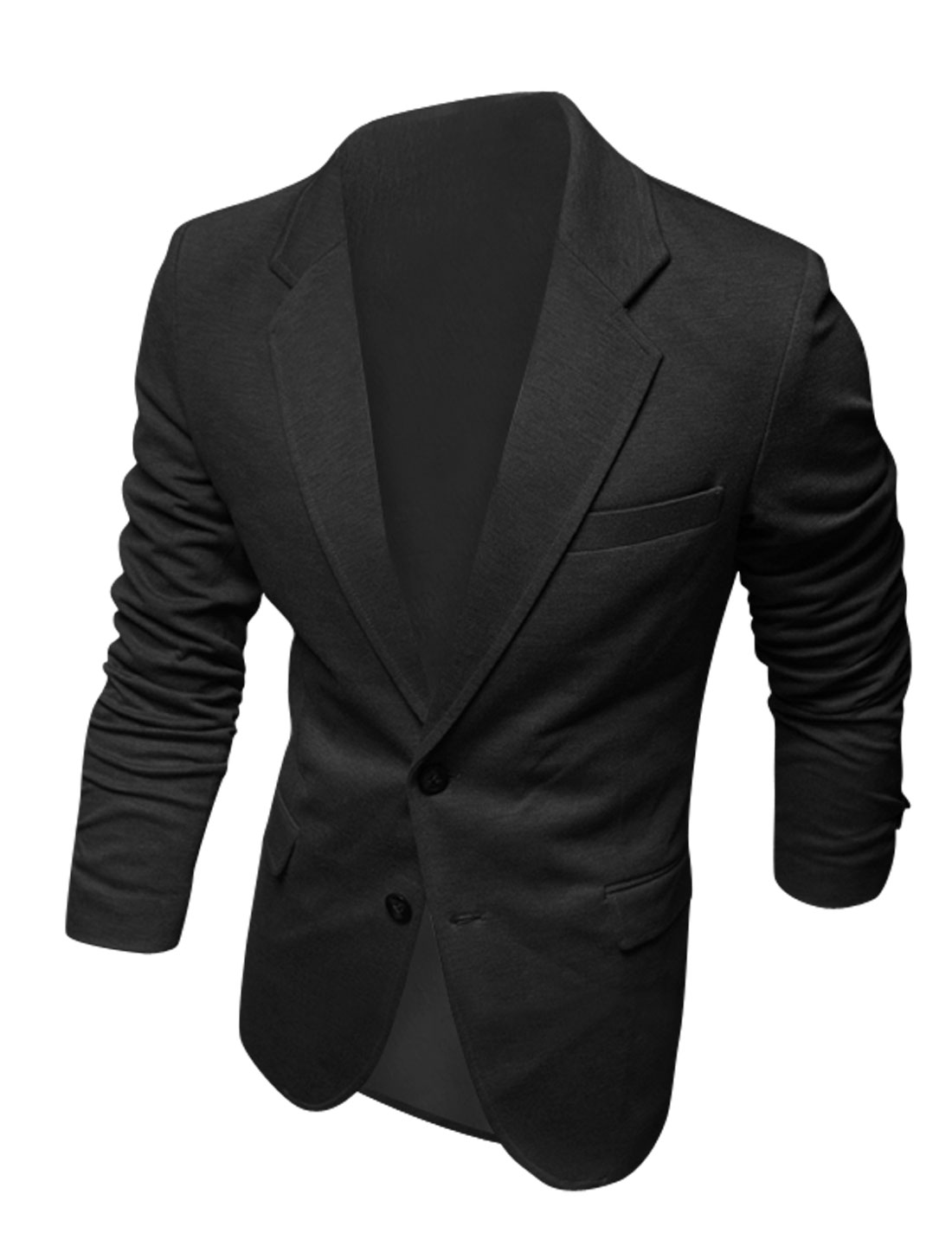 Men Long Sleeves Fake Chest Pocket Decor Single Breasted Black Blazer M