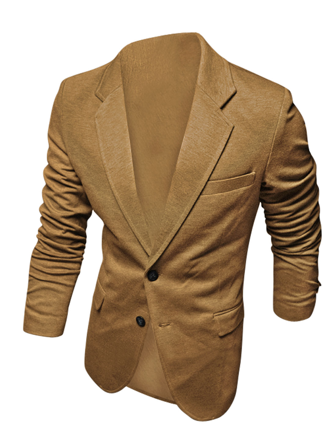 Men Notched Lapel Long Sleeves Single Chest Pocket Decor Blazer Camel M