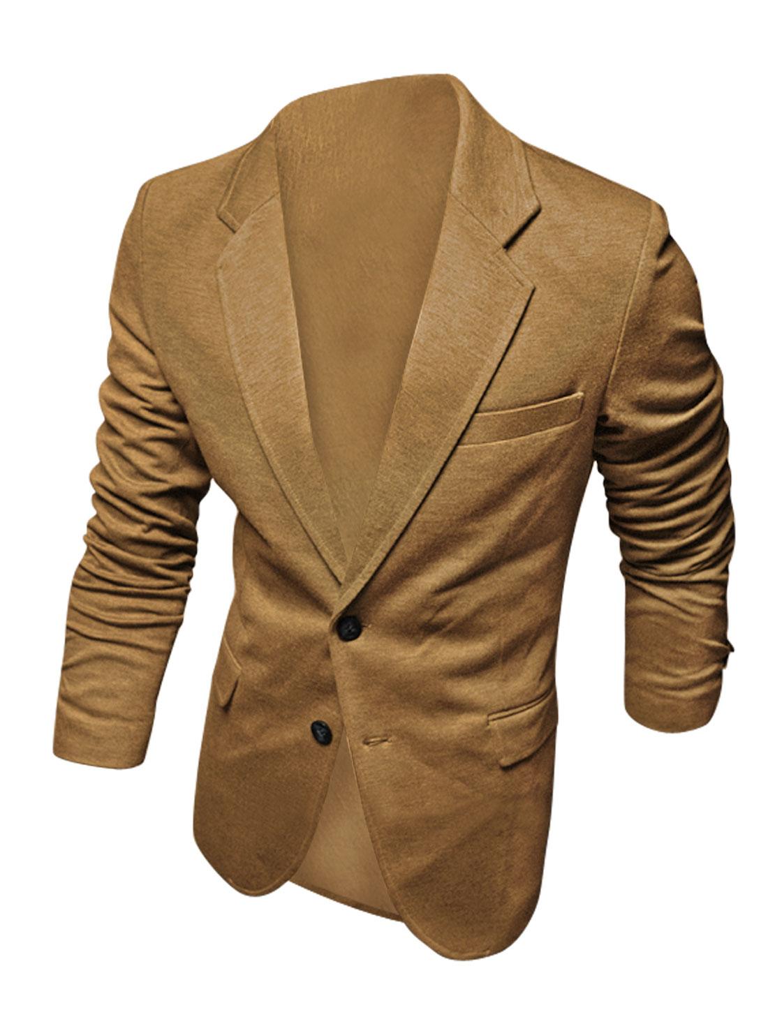 Men Notched Lapel Long Sleeves Single Chest Pocket Decor Blazer Camel M