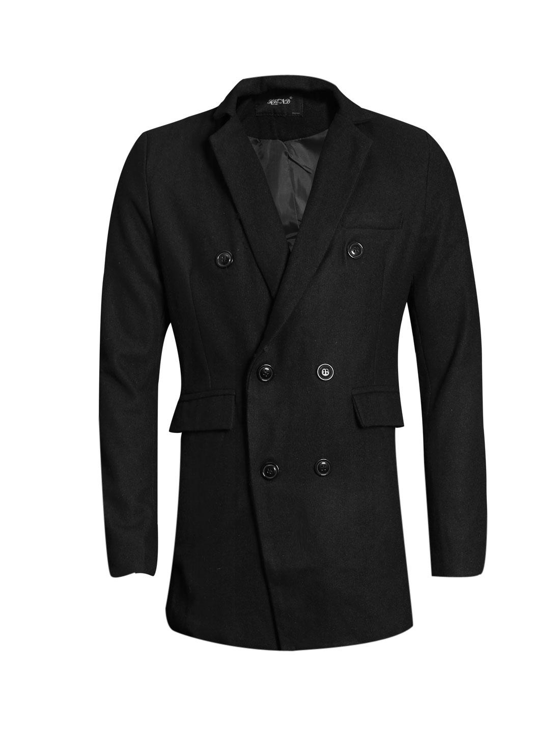 Men Notched Lapel Long Sleeve Button Closure Chic Blazer Black M