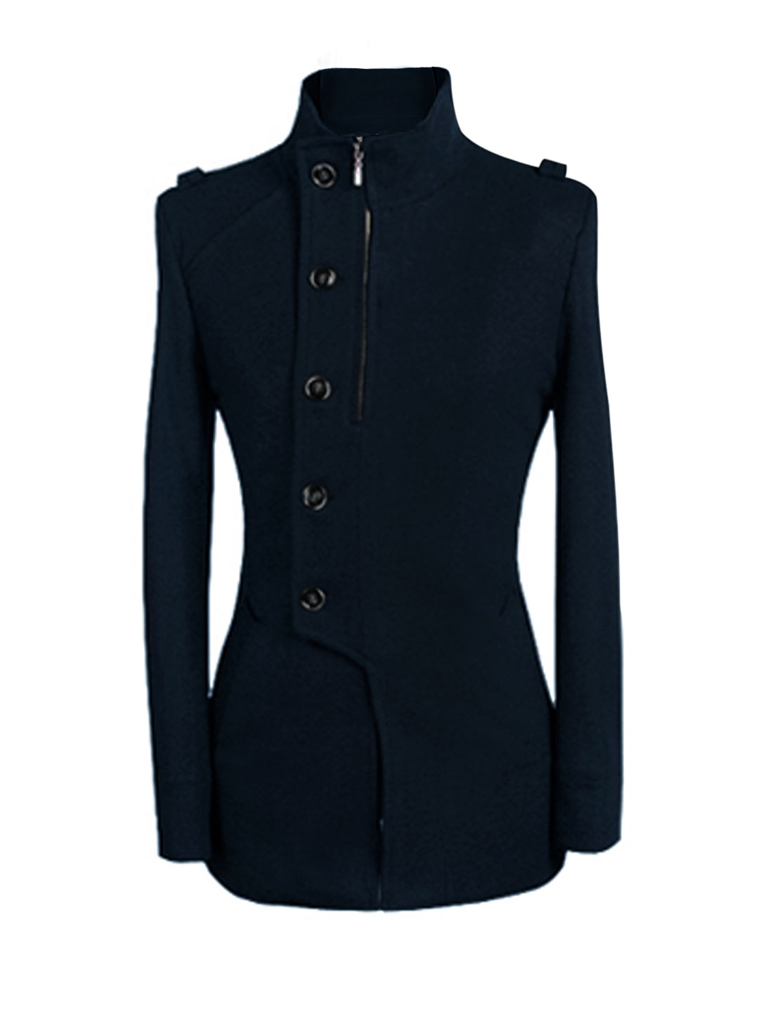 Men Stand Collar Long Sleeves Split Back Chic Worsted Coat Navy Blue M