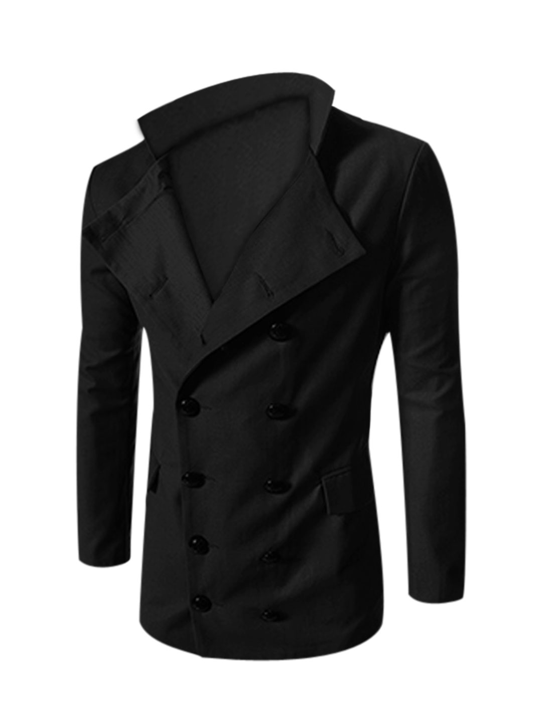 Man Black Double Breasted Front Pockets Split Back Convertible Collar Blazer Jacket L