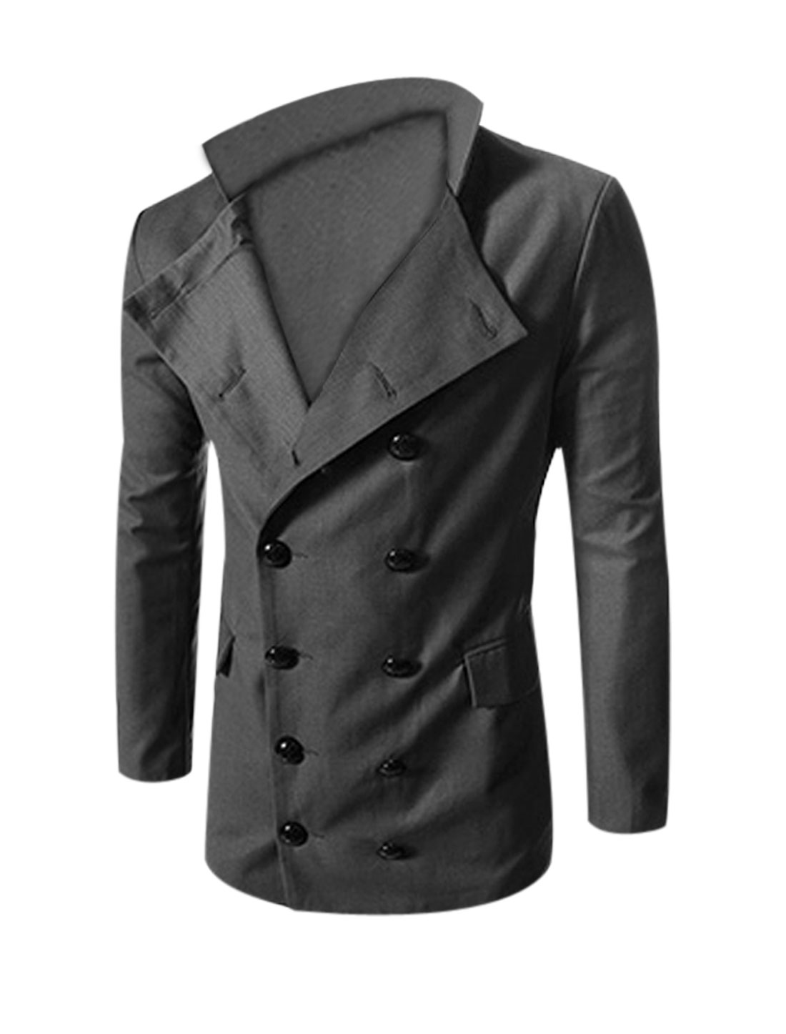 Man Gray Double Breasted Button Cuffs Split Back Blazer Jacket L