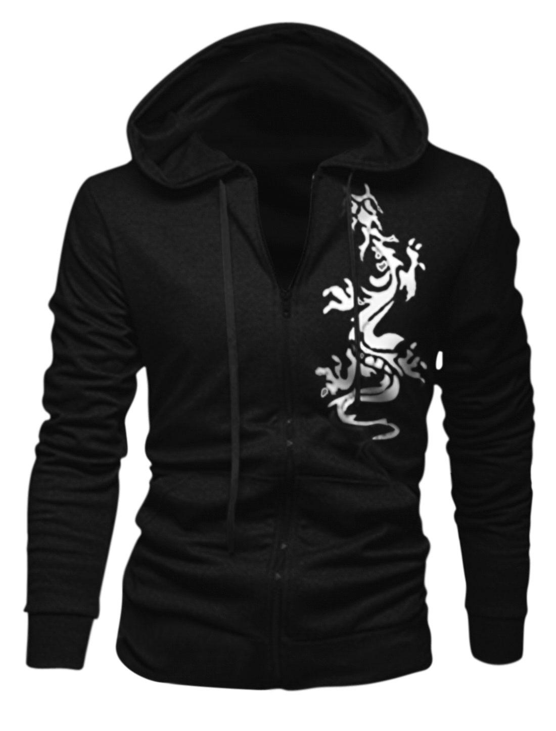 Men Dragon Pattern Zip Closed Long Sleeve Hooded Jacket Black M