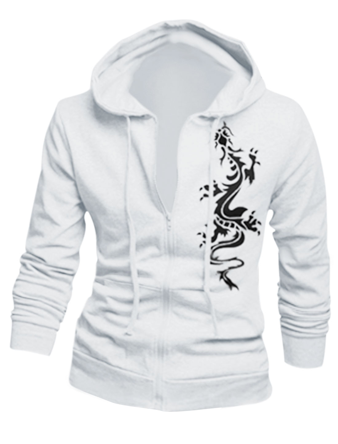 Man Long Sleeves Dragon Pattern Slim Fit White Hooded Jacket M