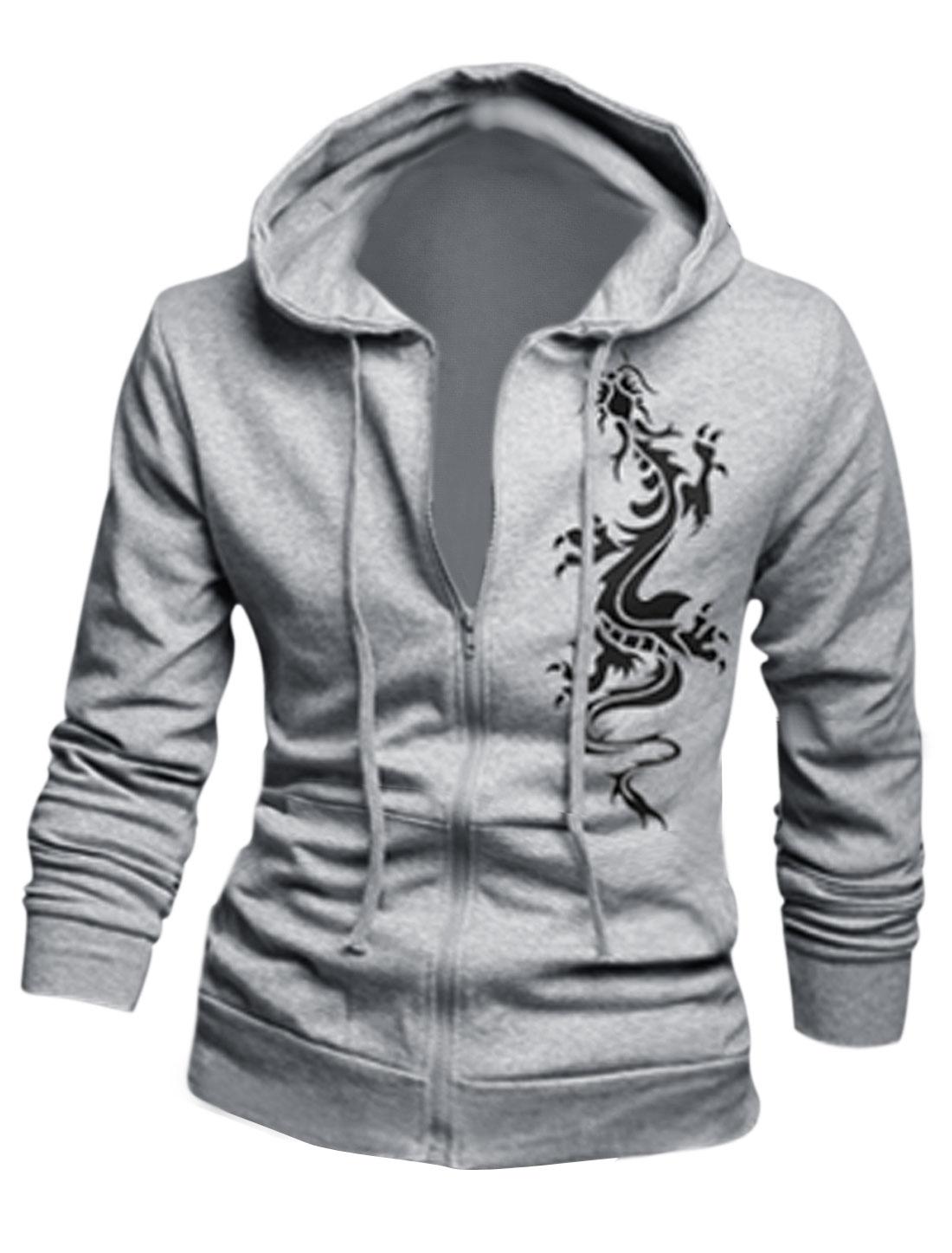 Drawstring Detail Zip Closed Light Gray Hooded Jacket for Men M
