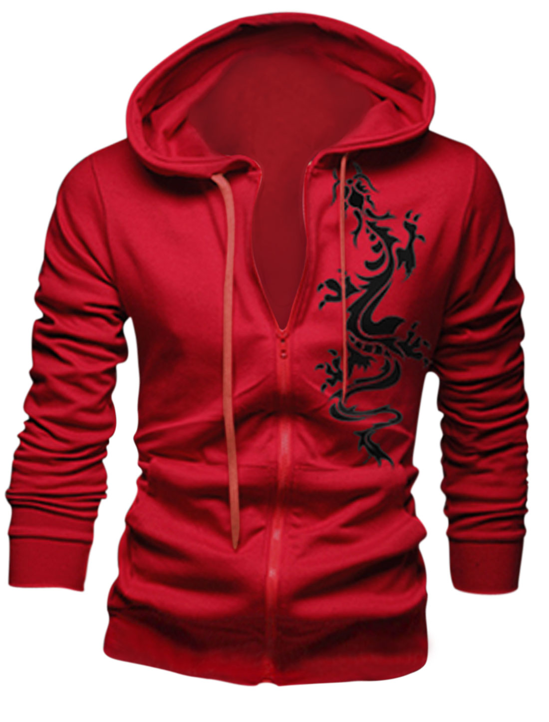 Men Cozy Fit Dragon Pattern Zip Front Casual Red Hooded Jacket M