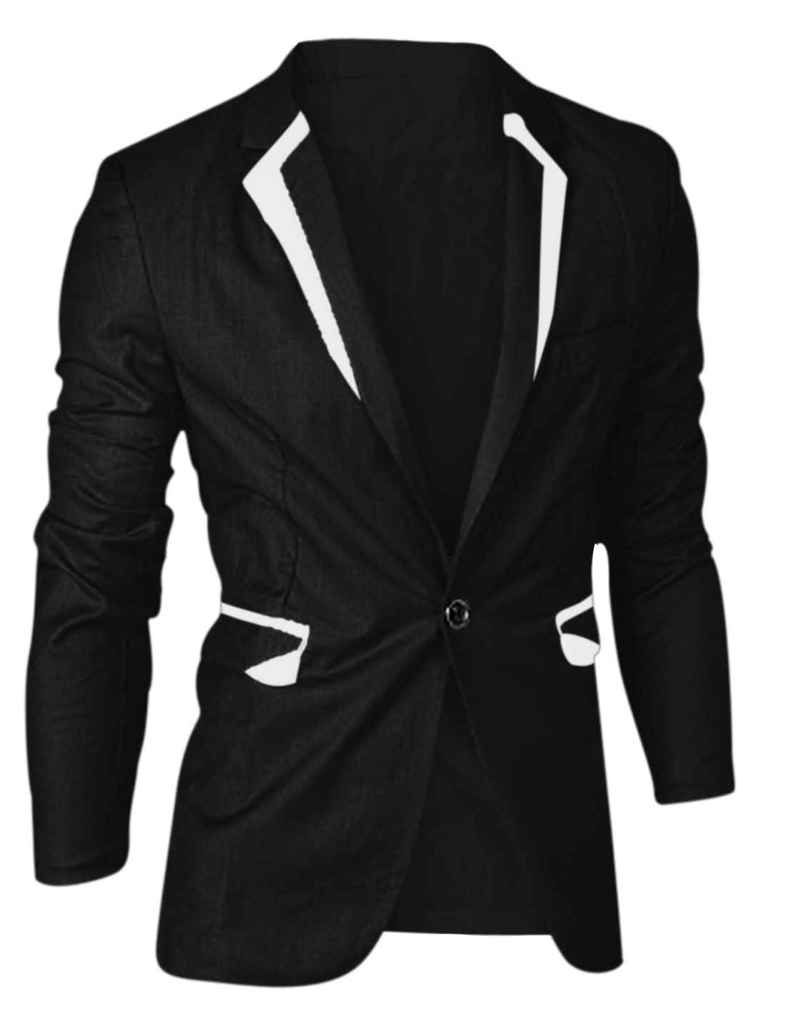 Men Notched Lapel One Button Closed Blazer Jacket Black M