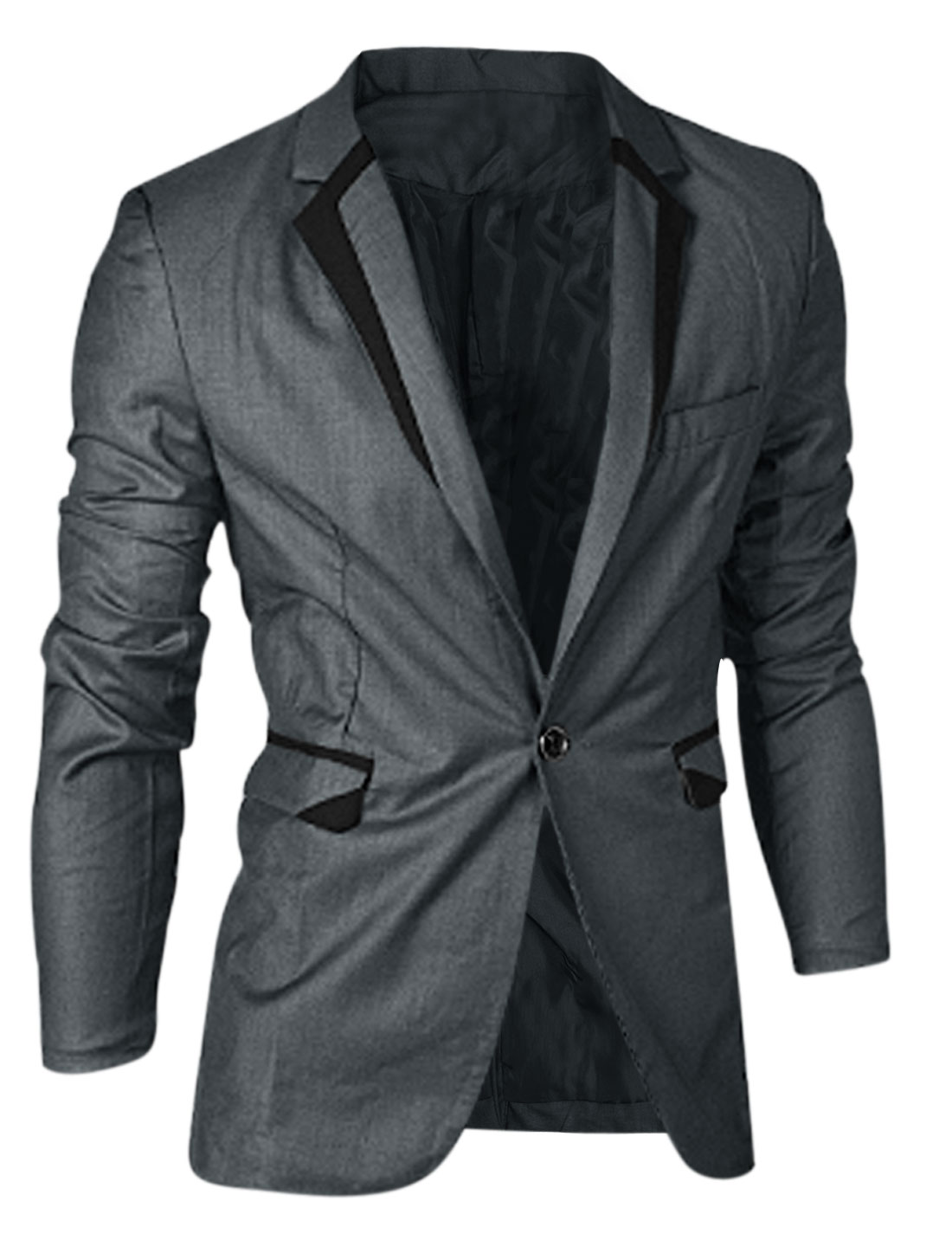 Man Button Decor Cuffs Long Sleeves Dark Gray Blazer Jacket M
