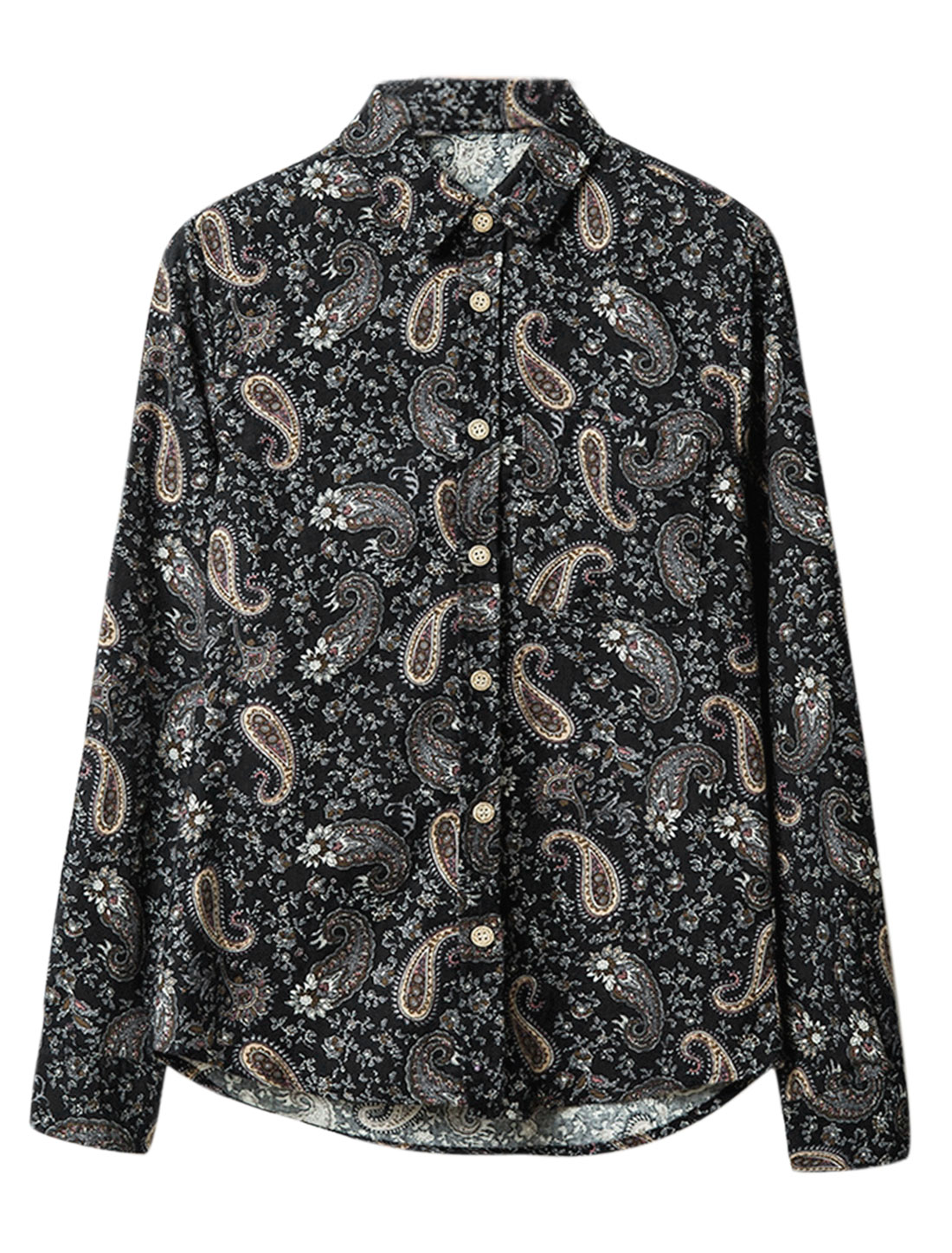 Men Point Collar Long Sleeves Paisleys Floral Prints Chic Shirt Navy Blue M