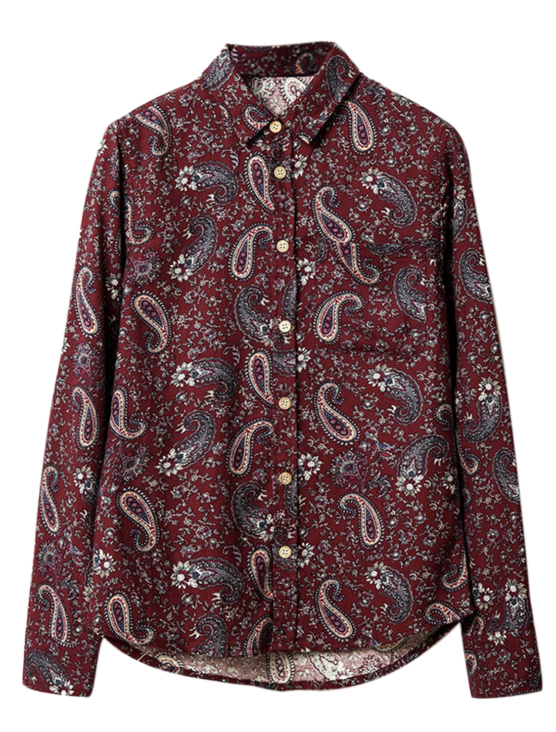 Men Point Collar Button Down Paisleys Single Chest Pocket Shirt Burgundy M