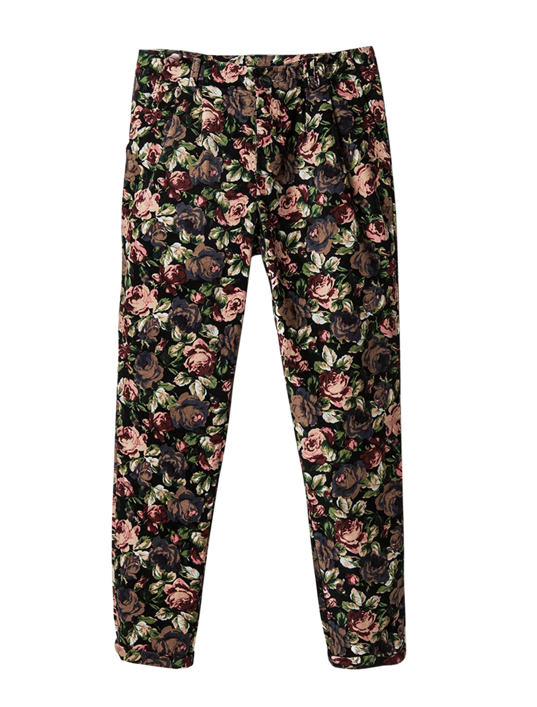 Men Zip Closure One Button Floral Prints Chic Pants Multi Color W30