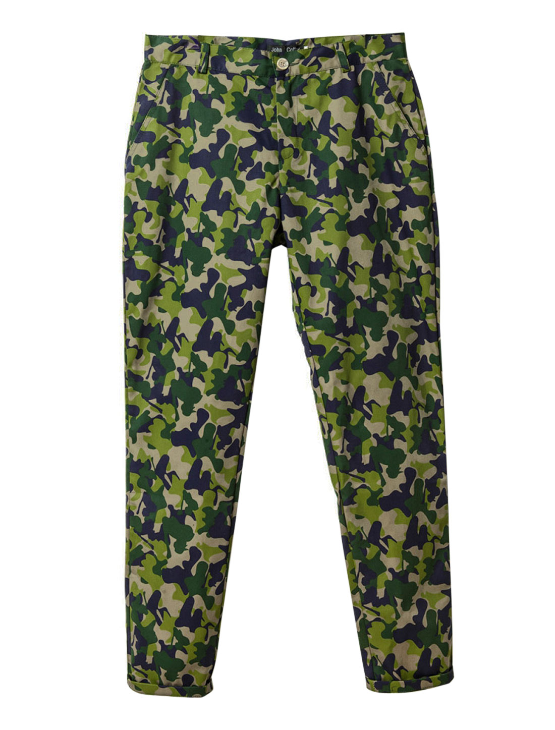 Men Camouflage Pattern One Button Zip Closure Chic Pants Green Navy Blue W28