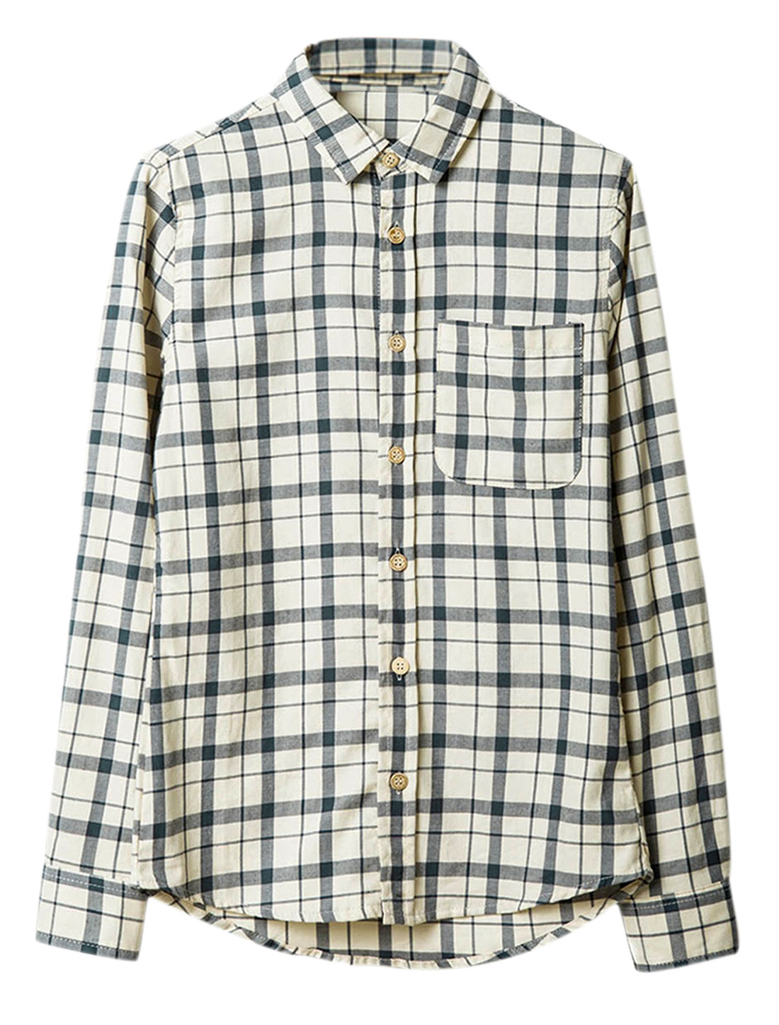 Men Point Collar Check Pattern Single Breasted Leisure Shirt Beige M