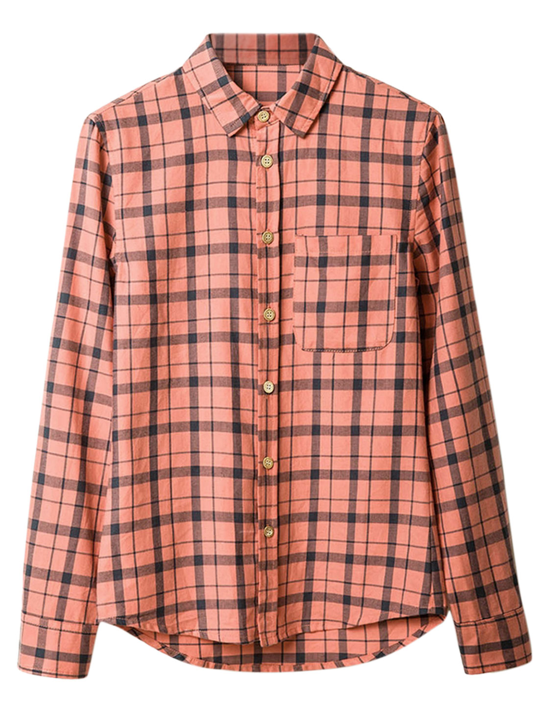 Men Point Collar Checks Button Down Round Hem Chic Shirt Coral M