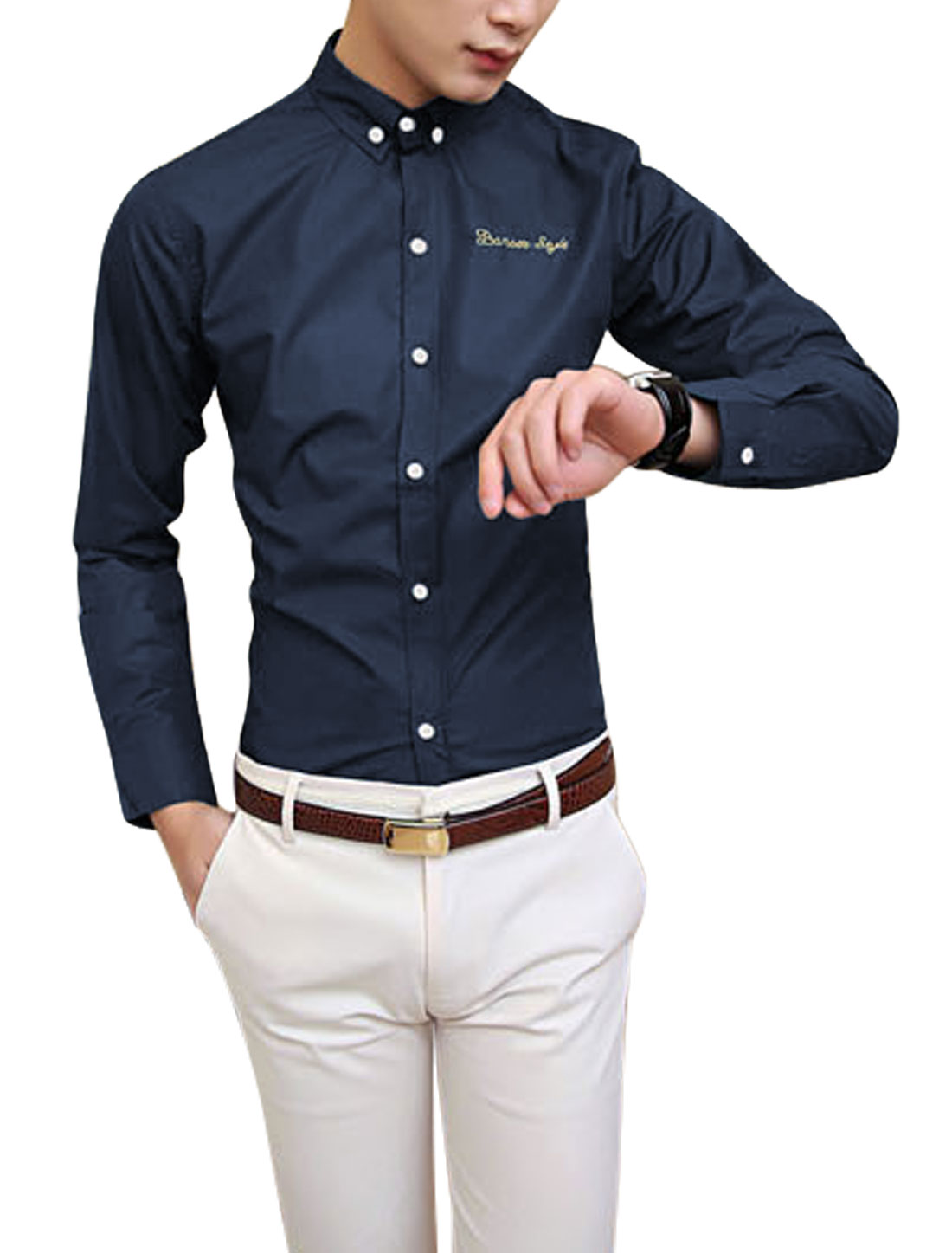 Men Point Collar Long Sleeve Single Breasted Chic Shirt Navy Blue M