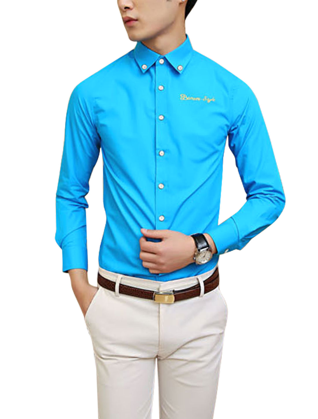 Man Full Sleeves Single Breasted Casual Peacock Blue Shirt M
