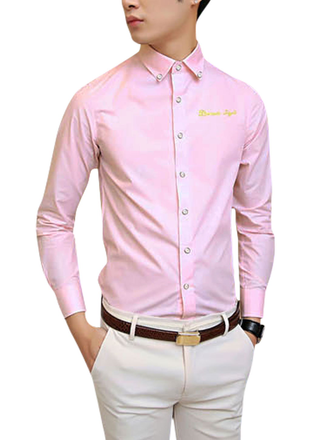 New Style Long Sleeve Point Collar Pink Shirt for Men M