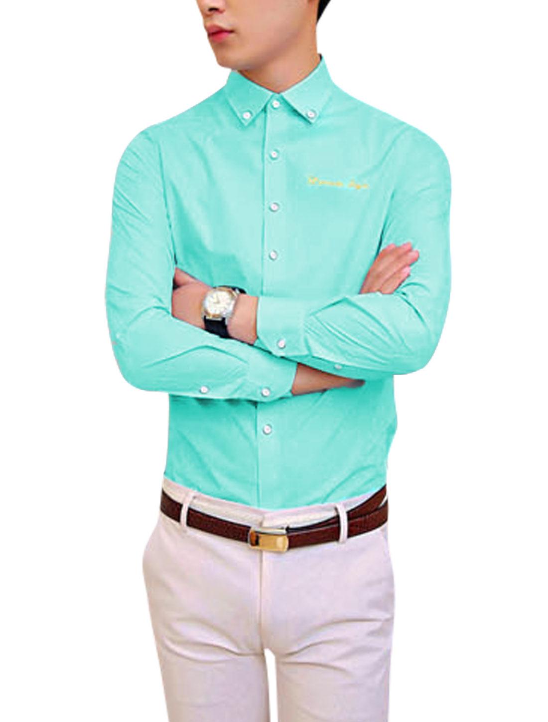 NEWS Point Collar Button Cuffs Aqua Shirt for Man M