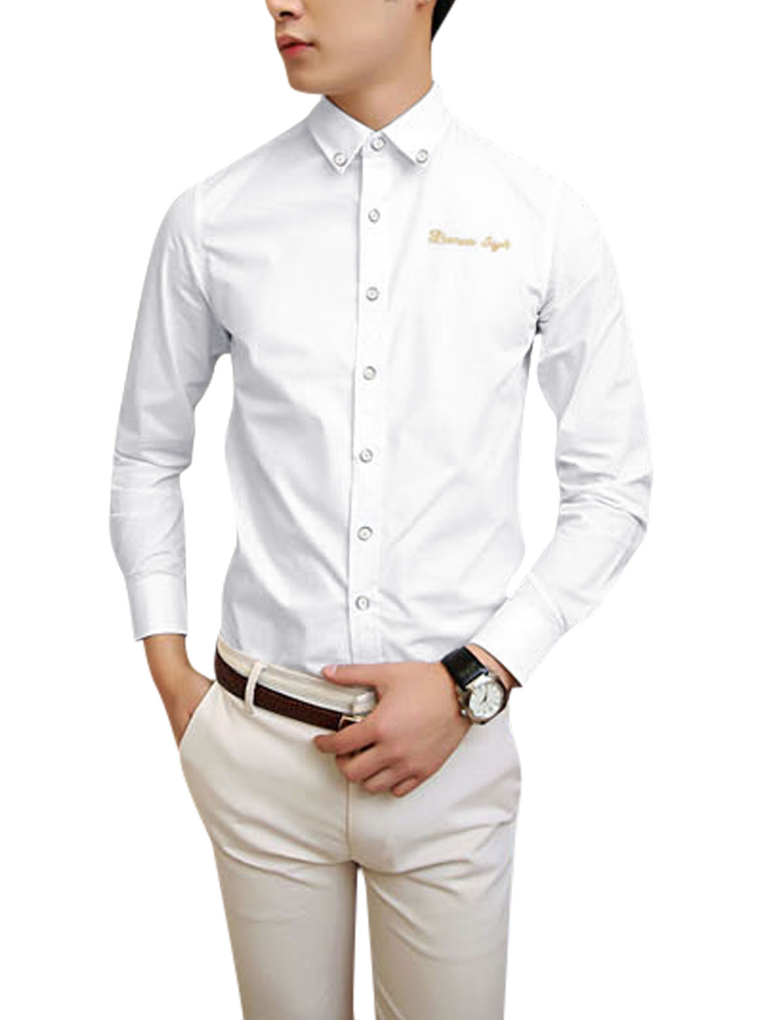 Embroidery Letters Detail Long Sleeve White Shirt for Man M