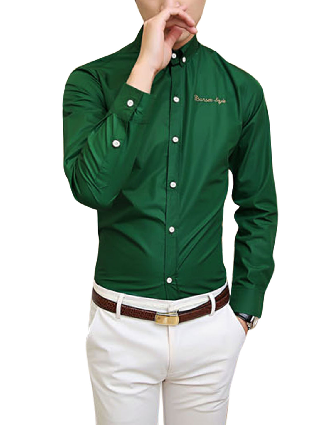 Korean Style Point Collar Button Up Dusty Green Shirt for Men M