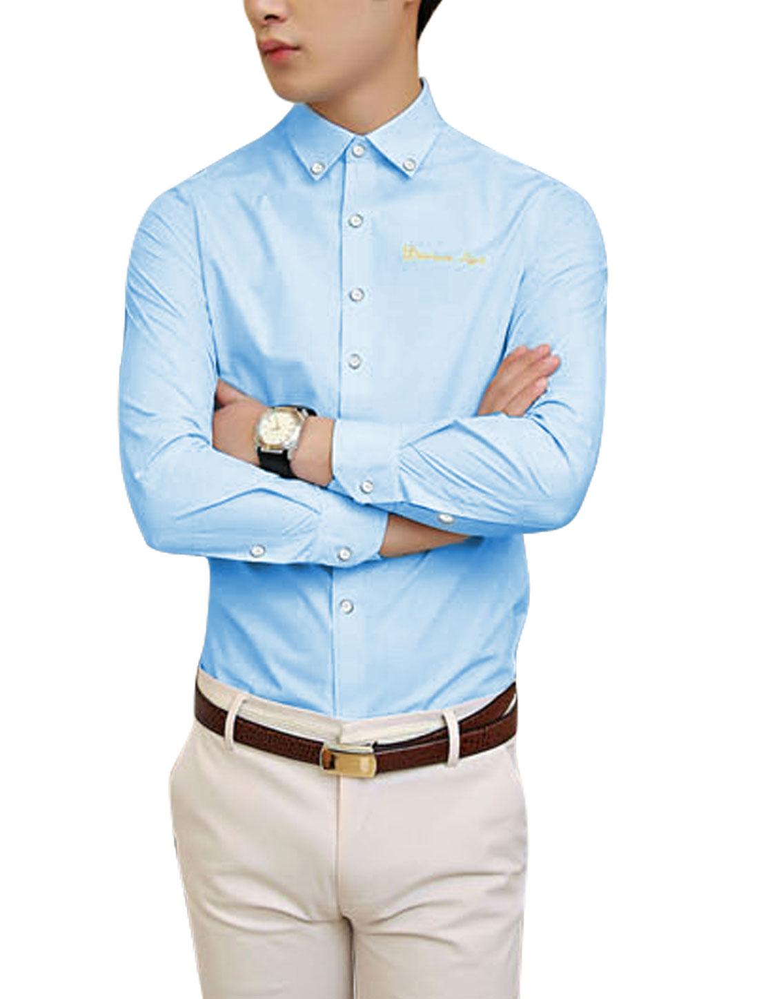Leisure Full Sleeve Button Cuffs Sky Blue Shirt for Man M