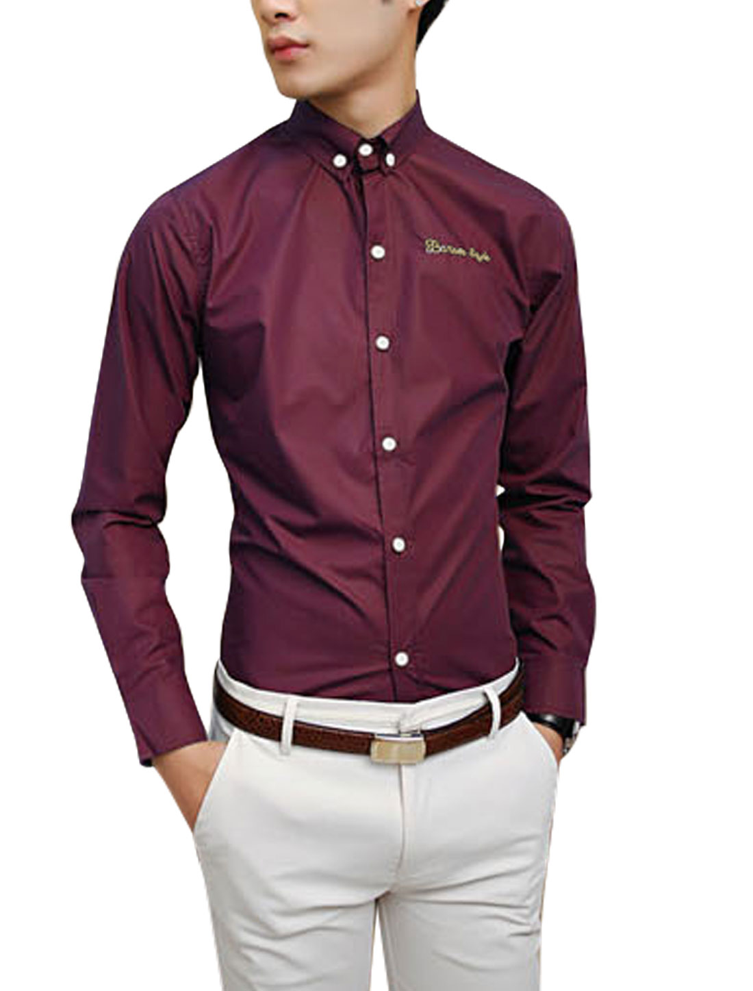 NEW Button Cuffs Point Collar Slim Fit Burgundy Shirt for Man M