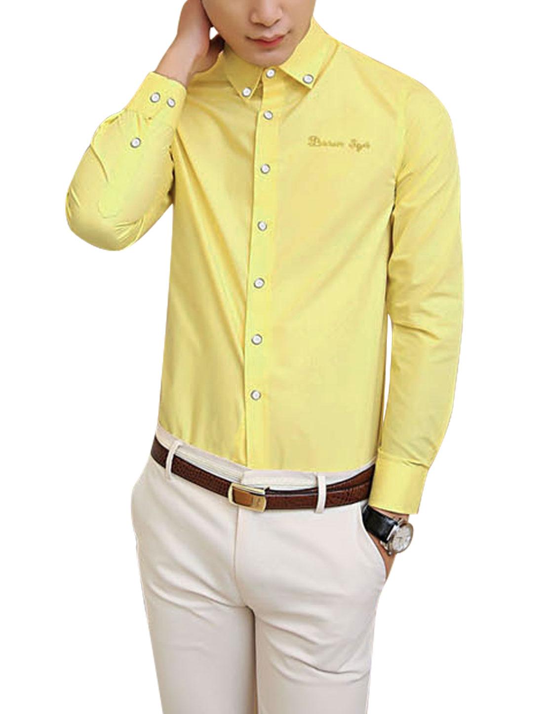 Men New Style Full Sleeve Button Cuffs Leisure Yellow Shirt M