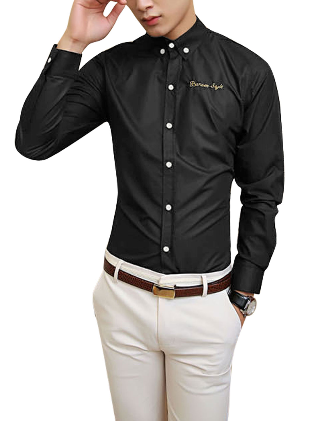 Man Korean Style Button Closed Point Collar Black Shirt M