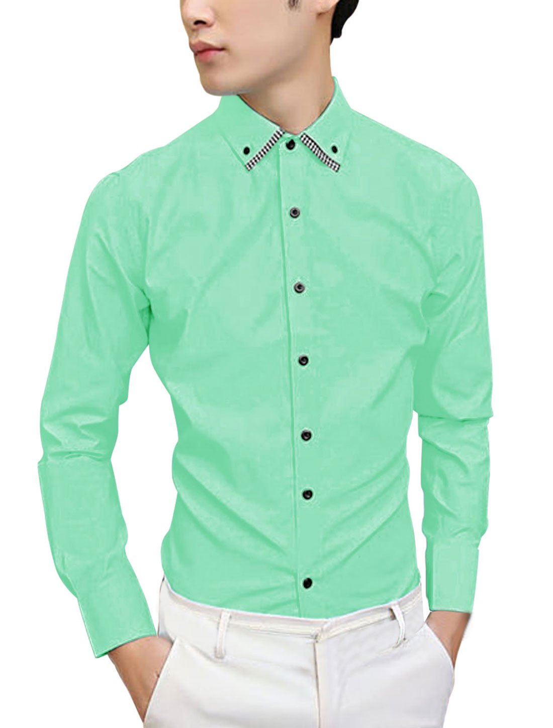 Man Single Breasted Full Sleeves Casual Mint Shirt M